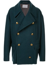 Kolor Double Breasted Fitted Coat Green