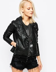 Barney's Originals Leather Asymmetric Jacket Black