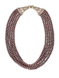 Heidi Daus Crystal Multi Strand Necklace 20In Pink
