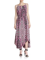 Saks Fifth Avenue Red Printed Keyhole Halter Maxi Dress Pink Black