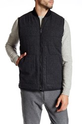 Kenneth Cole Channel Quilted Reversible Wool Blend Vest Black