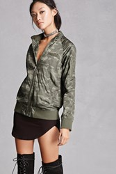 Forever 21 Members Only Camo Print Jacket Olive