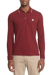 Moncler Men's Tipped Long Sleeve Polo Burgundy