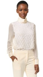 Prabal Gurung Embroidered Long Sleeve Blouse Ivory
