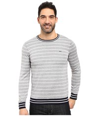 Lacoste Long Sleeve Double Face Chine Stripe Crew Neck Sweater Silver Chine Navy Blue White Men's Sweater