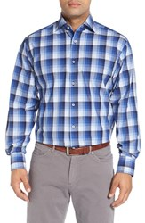 Thomas Dean Men's Classic Fit Gradient Check Sport Shirt