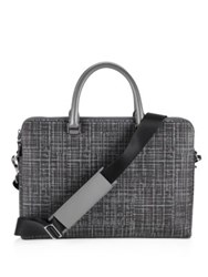 Michael Kors Patterned Leather Briefcase Grey