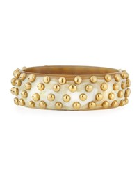 Ashley Pittman Mahiri Studded Light Horn Bangle White