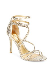 Vince Camuto Marlie Strappy Snake Embossed Metallic Leather Pumps Natural