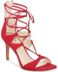 Marc Fisher Ballad Lace Up Dress Sandals Women's Shoes Medium Red