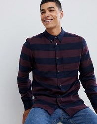 French Connection Stripe Flannel Shirt Bordeaux Marine Red