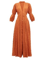 Cult Gaia Willow Ruched Panelled Cotton Blend Dress Brown