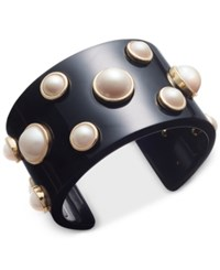Charter Club Gold Tone Imitation Pearl Jet Resin Cuff Bracelet Only At Macy's