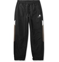 Flagstuff Logo Embroidered Tapered Colour Block Shell Sweatpants Black