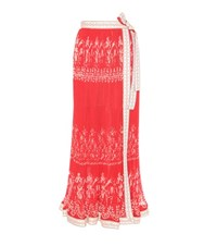 Etro Printed Chiffon Skirt Red