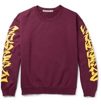Sasquatchfabrix. Iroha Distressed Fleece Back Cotton Blend Jersey Sweatshirt Burgundy