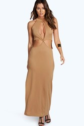 Boohoo High Neck Cutout Maxi Dress Camel