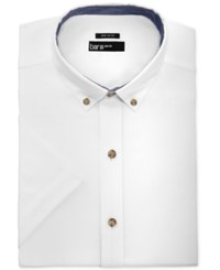 Bar Iii Men's Slim Fit White Oxford Short Sleeve Dress Shirt Only At Macy's Pink