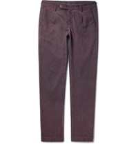 Massimo Alba Slim Fit Tapered Coated Stretch Cotton Trousers Burgundy