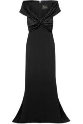 Reem Acra Woman Off The Shoulder Knotted Silk Crepe And Satin Gown Black