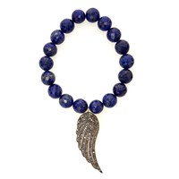 Nush Stretch Blue Lapis Bracelet With Diamond Wing Pendant