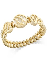 Charter Club Gold Tone Shell Look Beaded Bracelet Only At Macy's