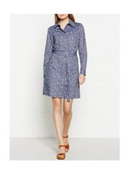 Kenzo Cartoon Cactus Chambray Shirt Dress Blue