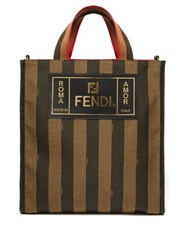 Fendi Logo Patch Striped Canvas Tote Brown Multi