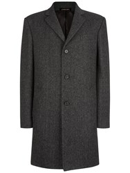 Jaeger Wool Herringbone Coat Charcoal