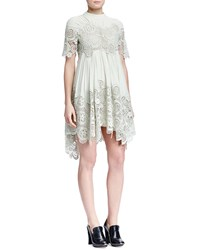 Chloe Floral Embroidered Pleated Handkerchief Dress Light Green Mint