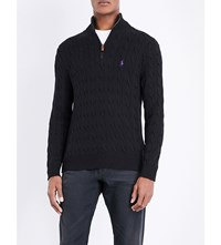 Polo Ralph Lauren Half Zip Cable Knit Cotton Jumper Polo Black