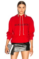 Rodarte Oversized Radarte Los Angeles Paris Embroidery Hoodie In Red