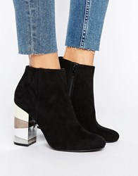 New Look Contrast Block Ankle Heeled Boot Black