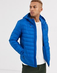 Celio Quilted Jacket With Hood In Bright Blue