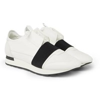 Balenciaga Race Runner Leather Neoprene Suede And Mesh Sneakers White