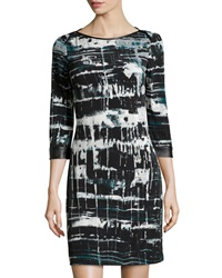 Marc New York By Andrew Marc Faux Leather Trim Tie Dye 3 4 Sleeve Dress Pine