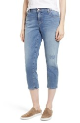 Eileen Fisher Tapered Stretch Organic Cotton Crop Jeans Abraded Sky Blue