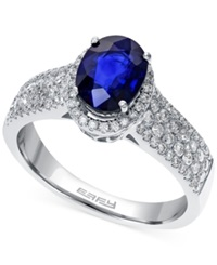 Effy Collection Effy Sapphire 1 3 8 Ct. T.W. And Diamond 5 8 Ct. T.W. Ring In 14K White Gold Blue