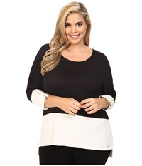 Calvin Klein Plus Size 3 4 Sleeve Dolman Top Black Women's Long Sleeve Pullover