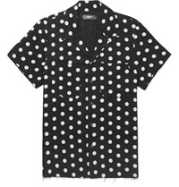 Amiri Camp Collar Polka Dot Twill Shirt Black