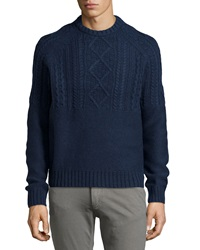 Penguin Wool Cable Knit Sweater Dress Blues