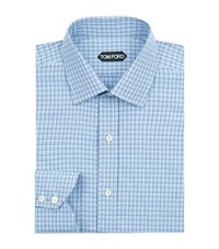 Tom Ford Micro Check Formal Shirt Male Light Blue