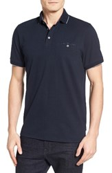 Ted Baker Men's London Clay Textured Collar Polo Navy