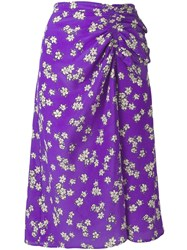 P.A.R.O.S.H. Floral Gathered Skirt Purple