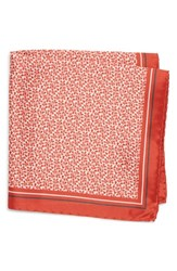 Boss Floral Silk Pocket Square Red