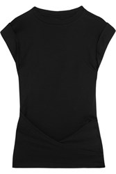 Isabel Marant Lowell Draped Cotton Jersey Top Black