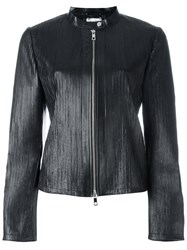 Desa Collection Ribbed Detail Zip Up Jacket Black