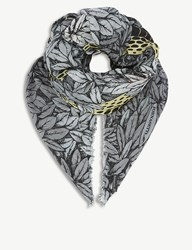 Fornasetti Face Print Modal And Cashmere Scarf Grey