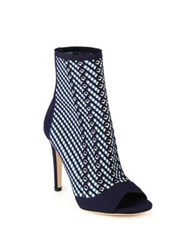 Gianvito Rossi Striped High Heel Ankle Boots Denim White