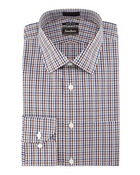 Neiman Marcus Trim Fit Non Iron Plaid Dress Shirt Brown Gray Navy